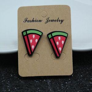 Jewelry - NWOT Red Green Cartoon Watermelon Stud Earrings